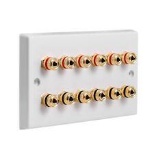 Speaker Wall Plate 6.0 12 Gold Binding Posts AV Audio Non-solder
