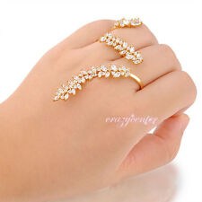 Punk two finger ring AAA zircon cluster cocktail ring fashion jewelry Gift R993