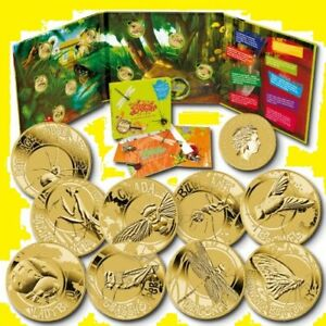 * Australia set 2010 9 coins x 1 $ Young Collectors * Backyard Bugs *Al-Br Album