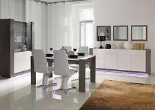 Modulares Wohnzimmer Set Hochglanz Weiß / Grau mit LED Vitrine Kommode Esstisch