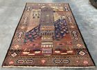 Authentic Hand Knotted Afghan Balouch War Pictorial Wool Area Rug 6 x 4 Ft