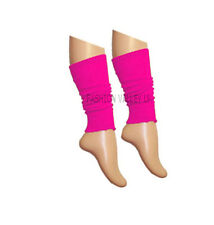 Girls Teen 80's Dance Plain Ribbed Leg Warmers Women Legwarmer Fancy Dress Tutu Pink