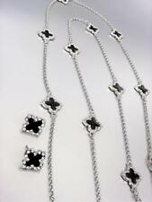 18kt White Gold Plated Black Lacquer Enamel Clover Clovers Long Necklace Earring