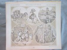 Vintage Print,HOLLAND,CARROSSE,LABYRINTHES,Costume,Historique,1888,Racinet