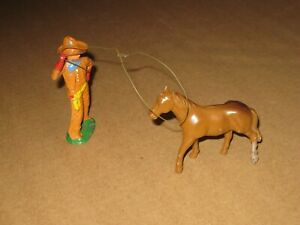 Barclay Lead Cowboy With Lasso & Horse,  Orange Outfit, Train Layout, 1930s, EX+