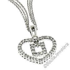 18ct Oro Blanco .66ctw Diamante Redondo Corazón Abierto Con / Cuadrado Colgante