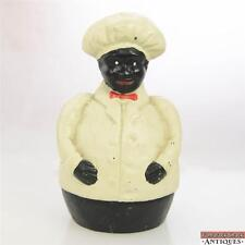 Antique Cast Iron Black Americana Jolly Chef Coin Bank Cook Baker Red Bowtie
