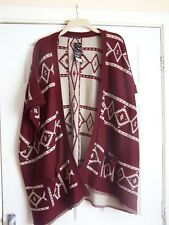Ellie Louise Size M/L Maroon & Beige Cardigan with Pockets BNWT