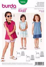 Burda Kids patrón de costura fácil Chicas Top Shirt & Vestido Tallas 2 - 8 9416