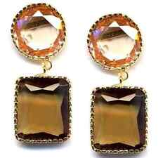 Champagne & Smoke CZs Sterling Silver Gold Plated Graduated Drop Earrings