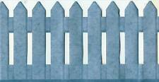 COUNTRY PICKET FENCE BLUE SCULPTURED WALLPAPER BORDER
