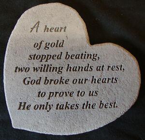 Special Heart Memorial Garden Stone Plaque Grave Marker Ornament Heart of Gold