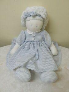Kate Finn Designer Rag/Cloth Doll White Hair 41cm Blue/White Dress Brand New