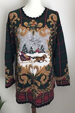 Northern Isles Sweater Christmas Scene Hand Knit Cotton Blend Womens Sz L Large