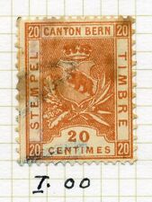 SWITZERLAND;     1890s Canton Bern Tax Stamp fine used Dated cancel 20c.