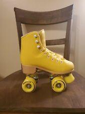 New listing Youth Roller Skates Size 4 C7 LemonPop Yellow C Seven Quad Skating Retro Leather