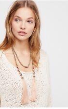 Free People Shimmer Stone Tassel Wrap Fringe Necklace By Nakamol Beige $48