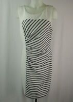 Guess White & Black Striped Side Ruched Sleeveless Dress Size 14