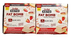 Lot of 2 SlimFast Keto Fat Bomb Snack Bar Minis Strawberry Topped Cheesecake