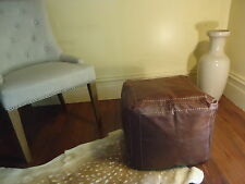 New Square Moroccan Leather Ottoman Pouffe Pouf Footstool Coffee Table Rich Tan