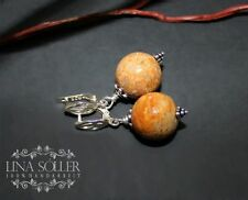 Echter Edelsteine-Ohrschmuck mit Koralle und Schnappverschluss für Damen