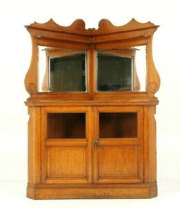 Large Oak Corner Cabinet, Mirror Back Cabinet, Display Cabinet, Scotland, B1620