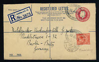 """GB - KGV 1931 SG419 WITH PERFIN """"RW/G"""" ON 4 1/2d REGISTERED ENVELOPE TO GERMANY"""