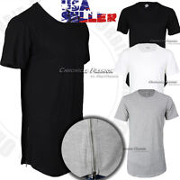 Mens Long T Shirt Hip Hop Crew Neck Elongated Extended Casual Solid Tee Longline