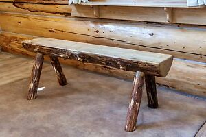 Half Log Bench 4' Amish Made Benches Montana Cabin Style Furniture