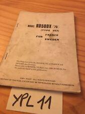 Yamaha supplément parts list RD50DX 353 RD50 DX 1975 catalogue pièces Eu SU