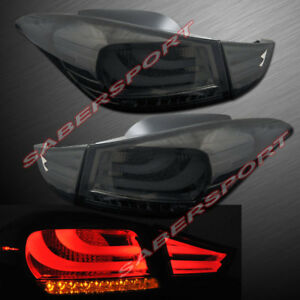 Set of 4pcs Smoke Lens LED Taillights for 2011-2013 Hyundai Elantra 4dr Sedan