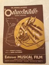 SPARTITO MUSICALE 'O CIUCCIARIELLO CANZONE NAPOLETANA MUROLO OLIVIERO 1952