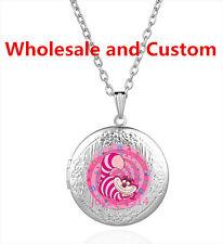 Pink Cheshire Cat Cabochon Tibetan silver Glass Locket Pendant Necklace HZ-5741