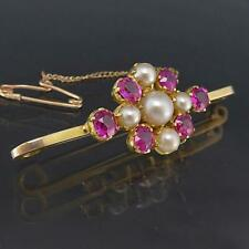 Fabulous Antique 1910's Solid 9k Yellow GOLD 6 NATURAL RUBY & 5 PEARL BAR BROOCH