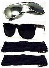 1cfc7cca72 2 PAIR Mens Womens Sunglasses Silver Aviator + Black Retro Style 2 FREE Case