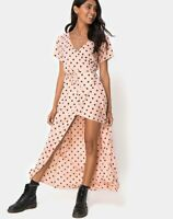MOTEL ROCKS Riva Dress in New Polka Nude Black  S Small (mr36.1)