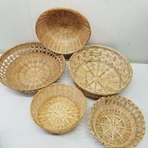 5 Wicker Rattan Baskets Wall Decor Country Farmhouse Chic Grannycore Boho Home