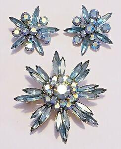 Vintage Judy Lee Aquamarine Rhinestone Flower Brooch and Clip-On Earring Set