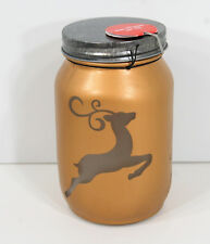 REDUCED PRICE Gold Painted Mason Jar Luminary Light Up with Deer Stincil