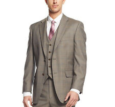 $400 Jones New York Men's Wool Taupe Plaid 40R Classic Fit Blazer Sportcoat