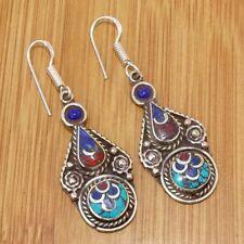 925 Tibetan Silver Plated Turquoise Coral, Lapis Lazuli Earrings Jewellery TIJ59