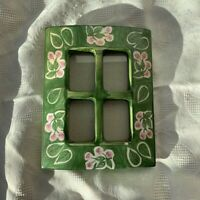 Vintage Windowpane Floral Picture Frame Green