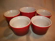 """LE CREUSET  4 piece red / brown   cookware 3 3/8"""" Ramekin Set + Bonus 3 7/8"""" pc"""