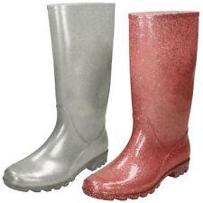 Ladies Spot On Flat Glitter Wellington Boots