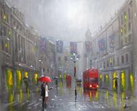100%Hand-painted Art Oil Painting Cityscape London's rain 16*20inch  Decoration