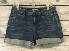 "Ruff Hewn Size 10 Jean Shorts Cuffed Leg Denim 3 1/2"" Inseam Stretch Medium Wash"