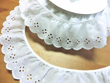 """White Eyelet Lace 2"""" wide - 50 yd FULL BOLT - cotton ruffled *NEW* made in U.S.A"""