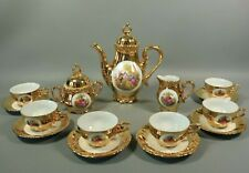 Vintage Gold Gilt Porcelain Tea Pot Cup and Saucer Set Fragonard BAVARIA Germany