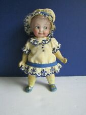 "Vtg Armand Marseille Googly Bisque Doll 6 1/2"" Painted Eye #255"
