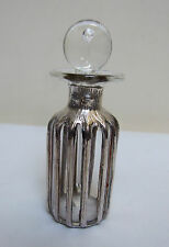 """SILVER OVERLAY CASED CLEAR GLASS PERFUME SCENT BOTTLE 4"""" VINTAGE c1988"""